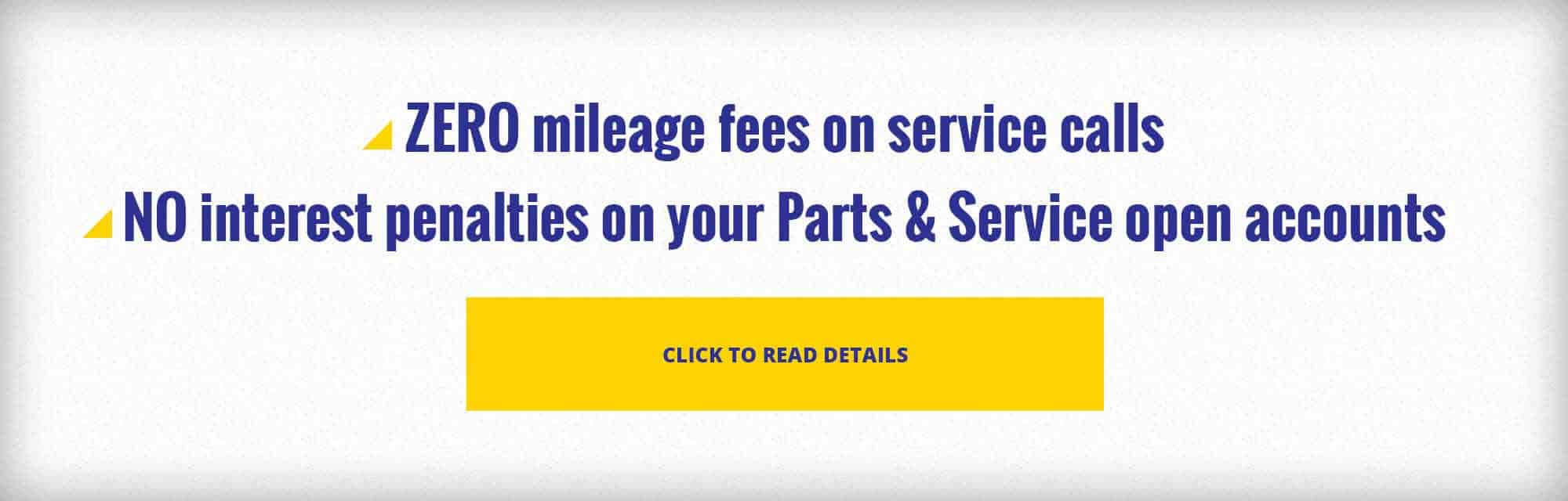 ZERO mileage fees on service calls